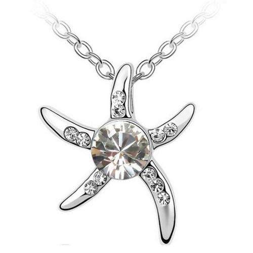 Solfera Beyaz Zirkon Taş Deniz Yıldızı Bayan Kolye K352