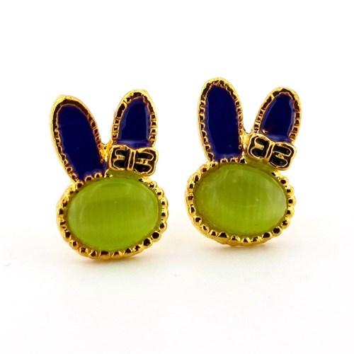 Solfera Yeşil Taşlı Tavşan Bayan Küpe Bunny E073