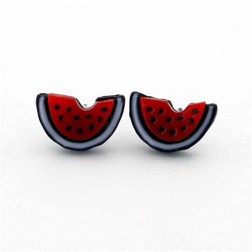 Solfera Kırmızı Karpuz Dilimi Bayan Küpe E112