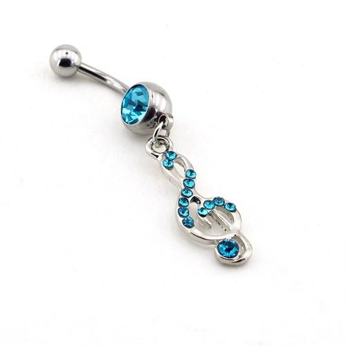 Solfera Mavi Sol Anahtarı Çelik Göbek Piercing P289