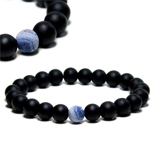 Takıcadde Mavi Mat Akik, Siyah Mat Oniks Doğaltaş Erkek Bileklik
