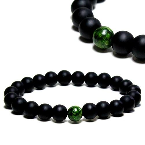 Takıcadde Yeşil Jade, Mat Oniks Doğaltaş Bileklik