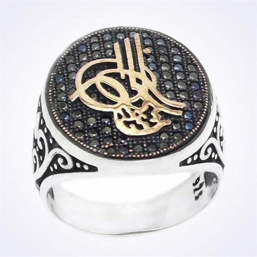 Mina Silver Siyah Taşlı Osmanlı Tuğralı Gümüş Erkek Yüzük