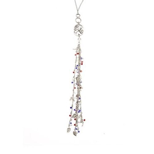 Bengü Accessories Çek Kristal Ve Beyaz Kuvars Taşlı, Kadın Madalyon Kolye