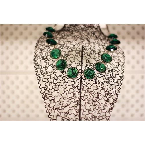 Bengü Accessories Yeşil Taşlı Modern Kolye