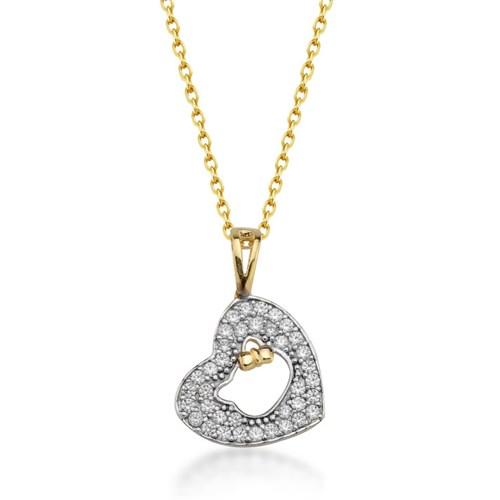 Goldstore 14 Ayar Altın Kalp Şirin Kedi Kolye Gp38895