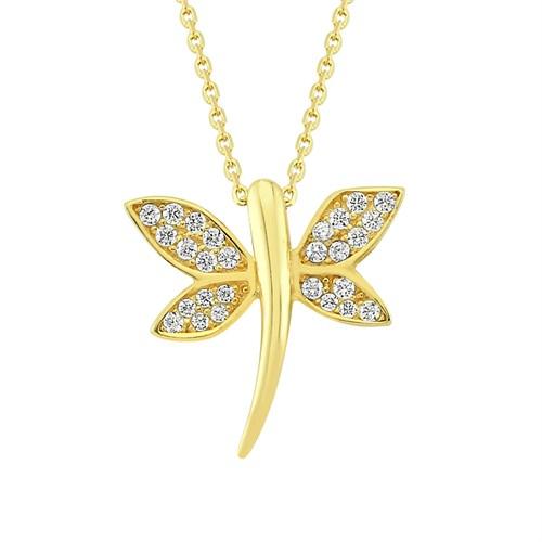 Altınsepeti Altın Kanatları Taşlı Yusufçuk Kolye As1016kl