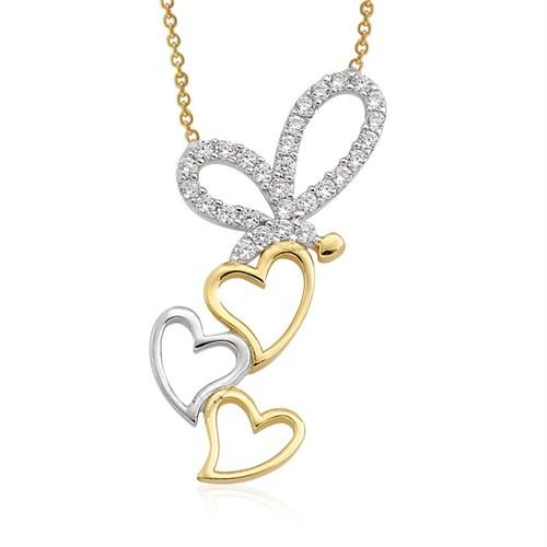Altınsepeti Altın Kelebekli Kalp Kolye As921kl