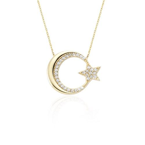 Glorria Altın Ay Yıldız Kolye