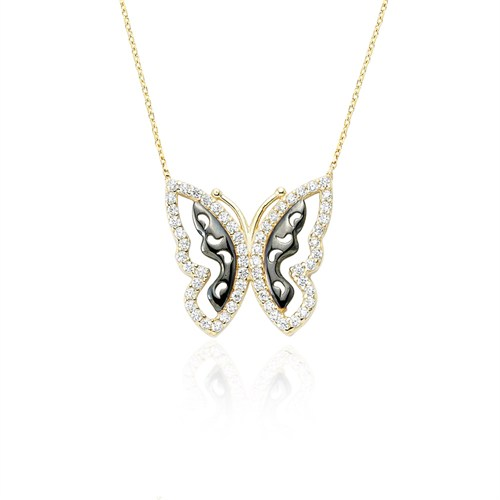 Glorria Altın Kelebek Kolye
