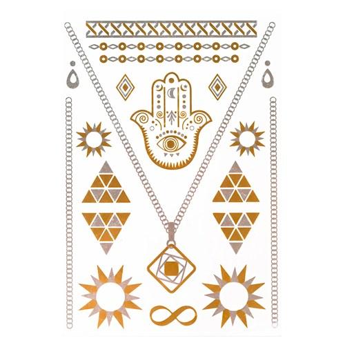 İroni Flash Tattoo Parlak Geçici Fatima Gold Silver Dövme
