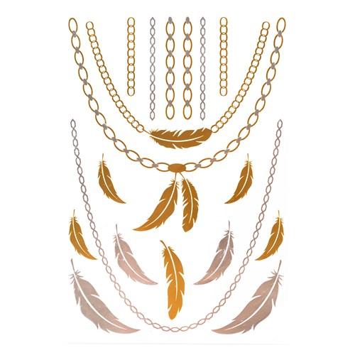 İroni Flash Tattoo Parlak Geçici Tüy Gold Silver Dövme