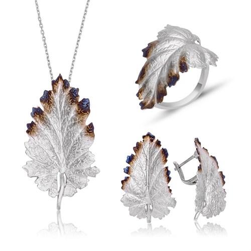 Tekbir Silver Gümüş Meşe Yaprağı Set