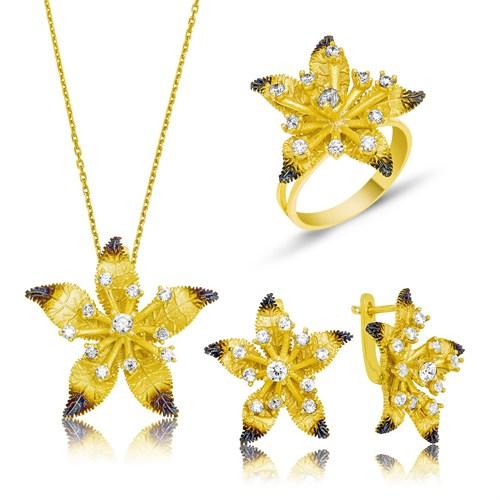 Tekbir Silver Gümüş Sarı Yasemin Çiçeği Set