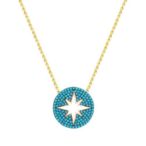 Melis Gold Altın Firuze Taşlı Yıldız Kolye Kly00919