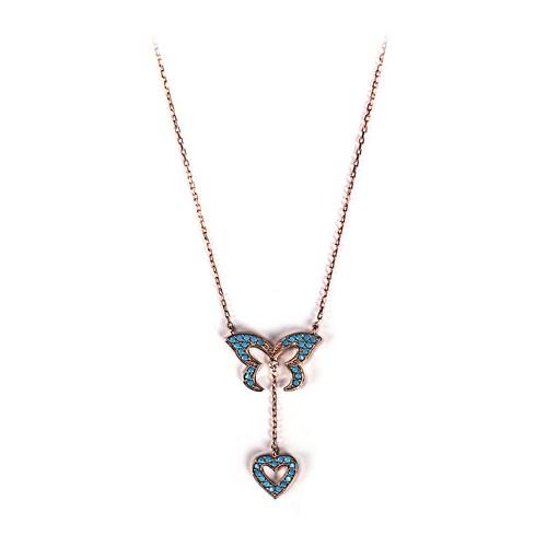 Neva Gümüş Firuze Taş Kelebek Kalp Kadın Gümüş Kolye