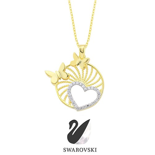 Sheamor Zirkon Circle Butterfly Kolye