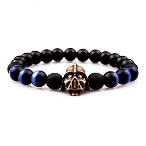 Takı&Trend Star Wars Siyah Oniks Mavi Kaplan Gözü Darth Vader Bileklik