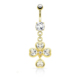 Chavin Beyaz Taşlı Sarı Gold Papatya Göbek Piercing dc65