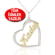 Chavin 925 ayar Gümüş Kalp üzeri isme özel isim kolye ar52
