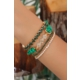 Yeşil Kristal Taş Tasarımlı İpli Detay Bayan Çoklu Bilelik
