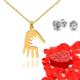 Chavin Bebeğim Bayan Altın Kolye ve Gül Yaprakları dc36