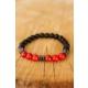 Çınar E-Ticaret Kırmızı & Siyah Boncuk Tasarımlı Havlit Doğal Taş Erkek Bileklik Modeli