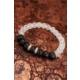 Çınar E-Ticaret Beyaz Kuvars Siyah Mat Oniks Doğal Taş Erkek Bileklik