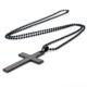 Siyah Zincirli Büyük Haç Çelik Erkek Kolye K525