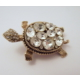 Aşina Gümüş Elmas Montür Swarovski Kaplumbağa Broş