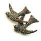 Aşina Gümüş Elmas Montür Swarovski Kuş Broş