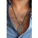 Çınar E-Ticaret Barış İşareti Figürlü Metal Erkek Kolyesi