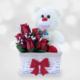 Doğum Günü Hediyeleri Dileğin Gerçek Olsun Ayıcıklı Çiçek Sepeti