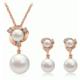 Moda Çift İnci Takı Seti Rose Gold Kaplama Kristal Küpe ve Kolye Set Romantik ediyeler