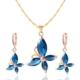 Myfavori Yeni Moda Mavi Kristal Küpe Ve Kolye Altın Kaplama Takı Setleri En Güzel Hediyeler