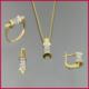Tuğrul Kuyumculuk Yeşil Beyaz Taşlı Altın 3'lü Mini Set