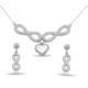 Argentum Concept Zirkon Taşlı Gümüş Kalpli Sonsuzluk Set