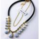 Myfavori Altın kaplama Popüler Mavi Beyaz Taşlı Romantik Stil Güzel Kolye