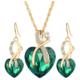 Myfavori Romantik Stil Kristal Kalp Yeşil Kolye ve Küpe Takı Setleri Sevgililer Günü Hediyeleri