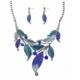 Modakedi Beyaz Altın Kaplama Mavi Yaprak Kristal Bayan Takı Seti