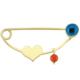 Goldstore 14 Ayar Altın Nazar Boncuğu Ve Mercanlı Kalp Yaka İğnesi G33307
