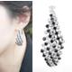 Myfavori Küpe Elegant Black And White Crystal Prenses Son Moda Küpe Takı Modelleri