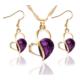 Myfavori Takı Seti Mor Kristal Kalp Romantik Stil Kolye Küpe Takı Setleri Sevgililer Günü Hediyeleri