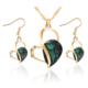 Myfavori Takı Seti Yeşil Kristal Kalp Romantik Stil Sevgililer Günü Kolye Küpe Takı Setleri