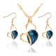 Myfavori Takı Seti Kristal Mavi Kalp Romantik Stil Sevgililer Günü Kolye Küpe Takı Setleri