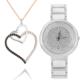Chavin Siyah Beyaz Taşlı Kalp Gümüş Kolye ve Saat Seti set17