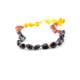 Kehribar Sepeti Gökkuşağı Rengi Yassı Kehribar Bebek Diş Kolyesi