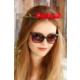 Morvizyon Kırmızı Renk Gül Tasarımlı Bayan Taç