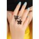 Morvizyon Siyah Metal Kelebek Ve Çiçek Figürlü Bayan Yüzük By202