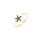 Nusret Takı 925 Ayar Gümüş Minik Yıldız Taşlı Yüzük, Sarı - Siyah Taş